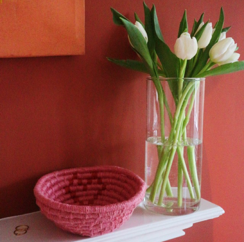 Pink basket with a red heart for Galentines Day la basketry