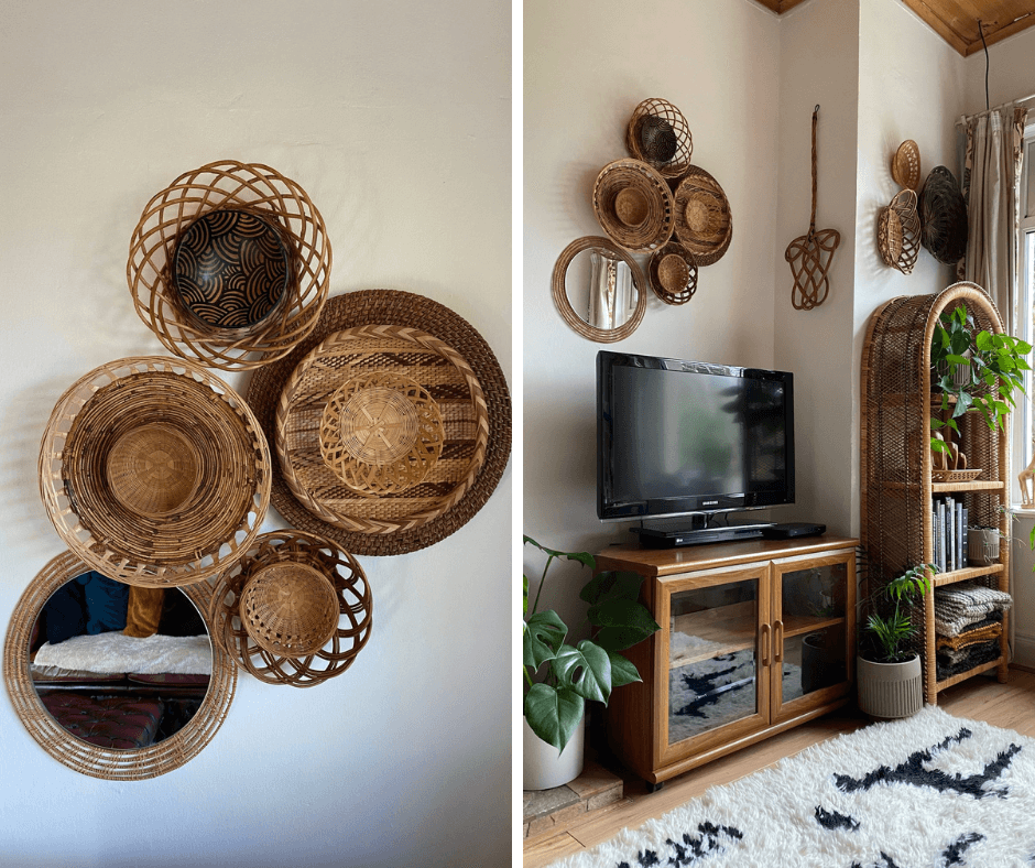 Renie Gray for Basket Finds, an interview by La Basketry. Image is two photos side by side. Left is a close up of Renie's basket wall decor, right is the basket wall shown in situ in her living room with a tv unit and bookshelf