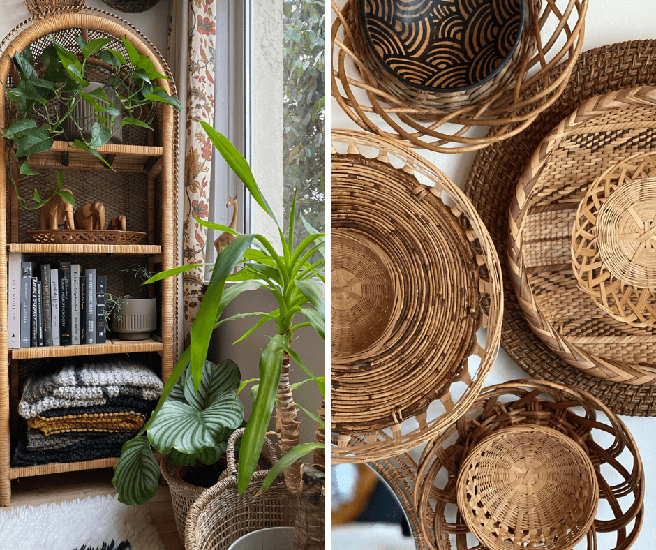 Renie Gray for Basket Finds, an interview by La Basketry. Image showing two photos side by side. Left is a rattan bookshelf decorated with plants and books, right is a close up of rattan baskets