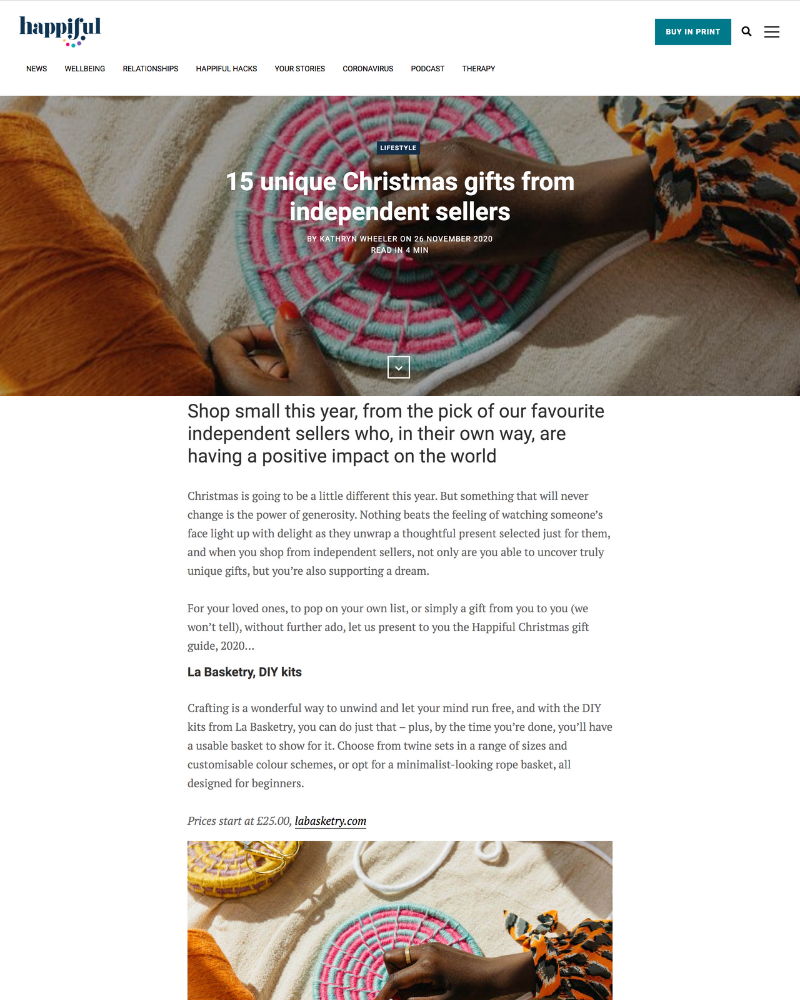 Unique Christmas gifts from independent sellers featuring La Basketry for Happiful