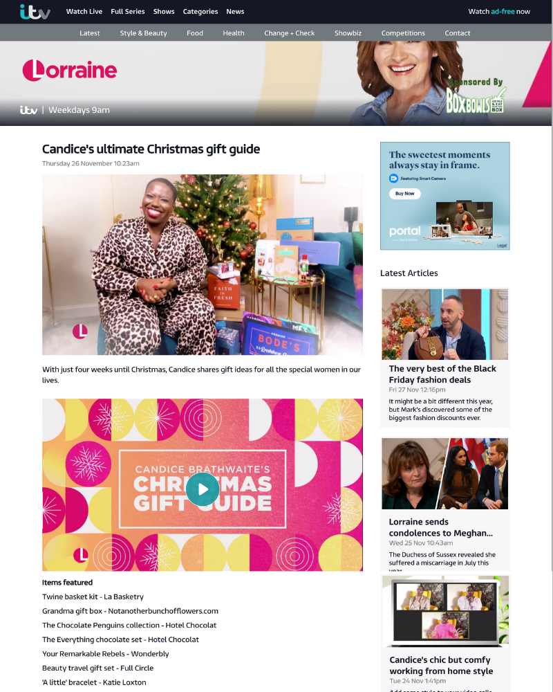 crafty christmas gifts la basketry for itv's lorraine with candice brathwaite