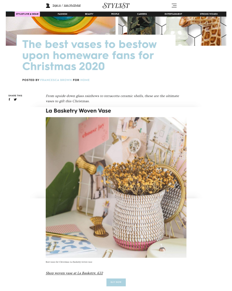 la basketry hand woven vase for stylist magazine best vases for gifts