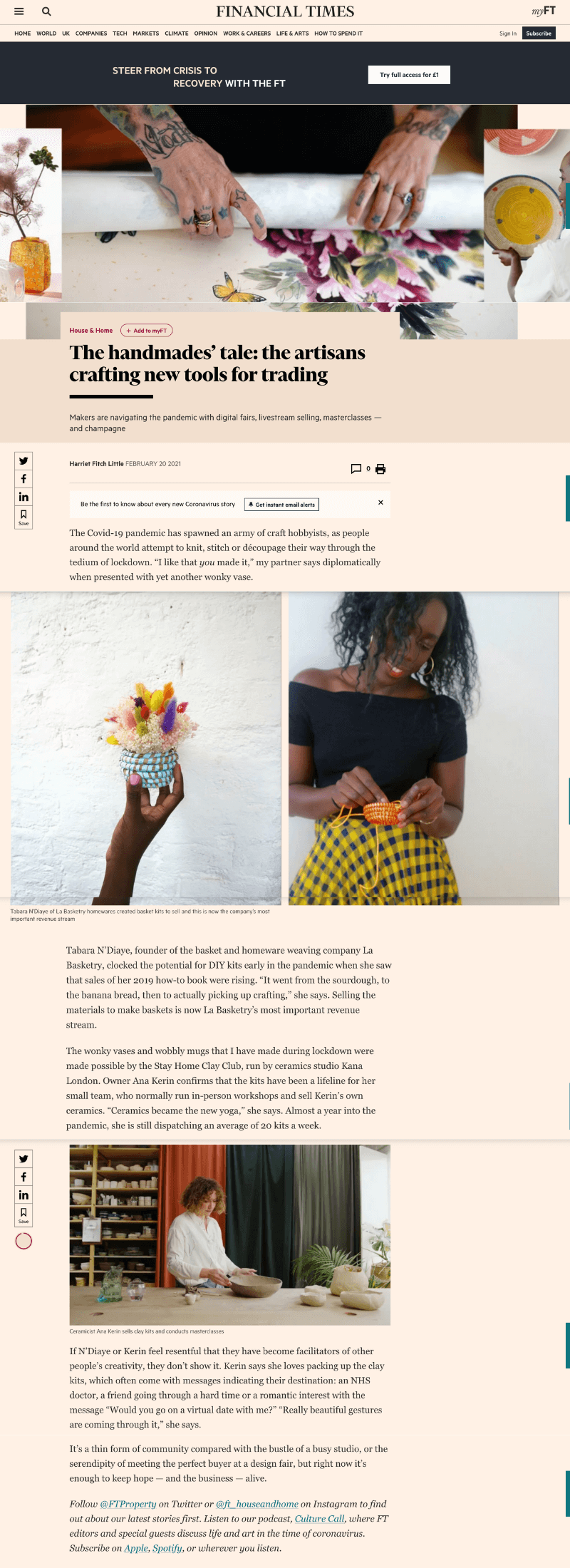 La Basketry for The Financial Times featured in Feb 2021 talking to founder Tabara D'Niaye about launching home diy kits for crafters