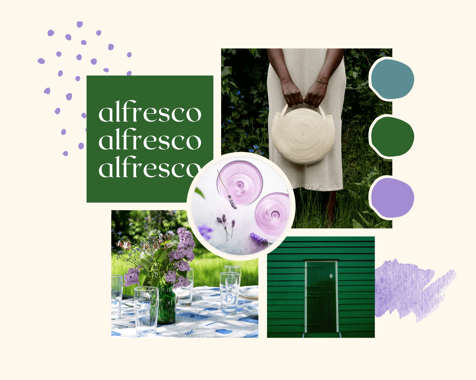 La Basketry's mood boards for summer styling your handmade cotton rope basket bag. This look is alfresco, for a weekend spent outdoors