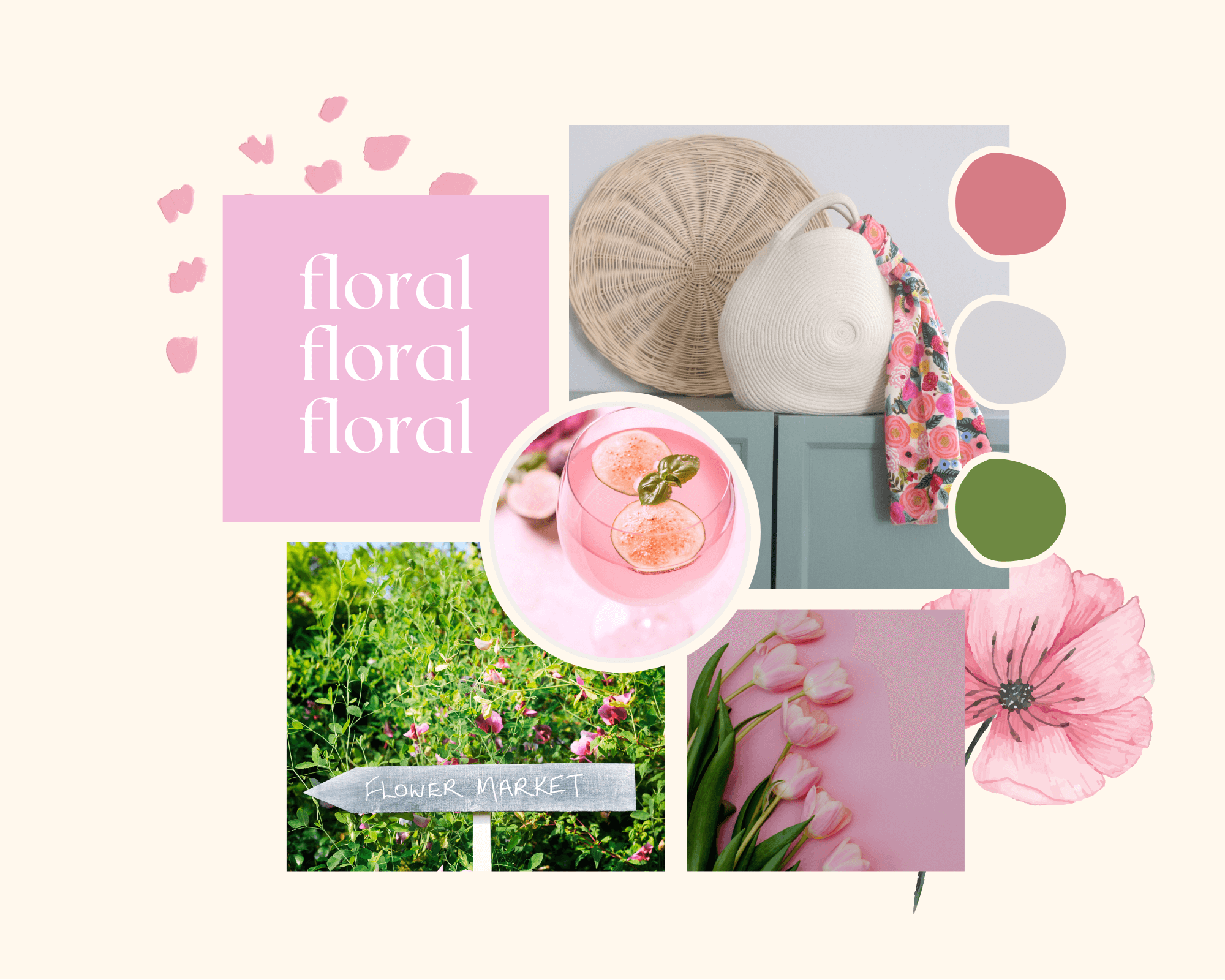 La Basketry's mood boards for summer styling your handmade cotton rope basket bag. This look is floral, for a Sunday stroll through London's East End