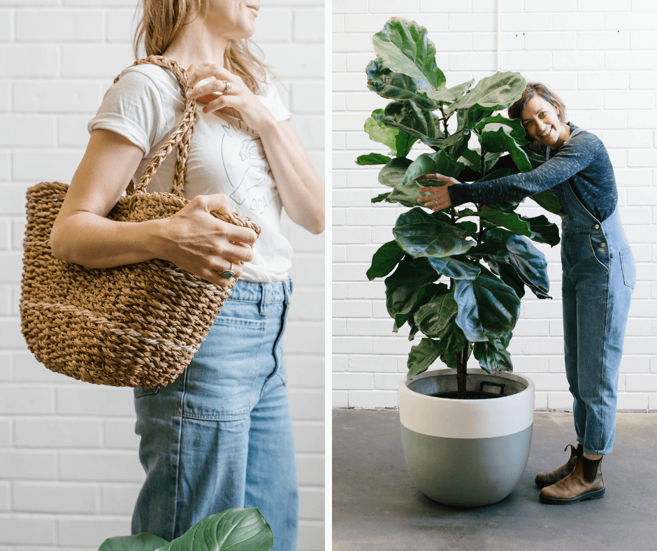 A lady with a basket bag on the left and Sarah Bell in Stackwood concept store Australia on the right, for La Basketry on the shelf
