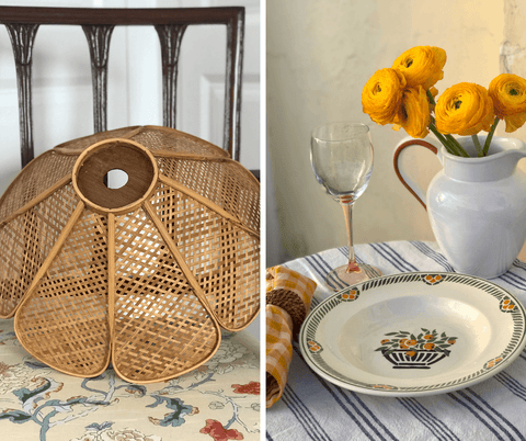 Sophie Douglas one off piece la basketry interview - a rattan lampshade and vintage table setting with yellow flowers in a vase