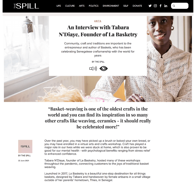 La Basketry founder Tabara N'Diaye interviewed for The Spill June 2021