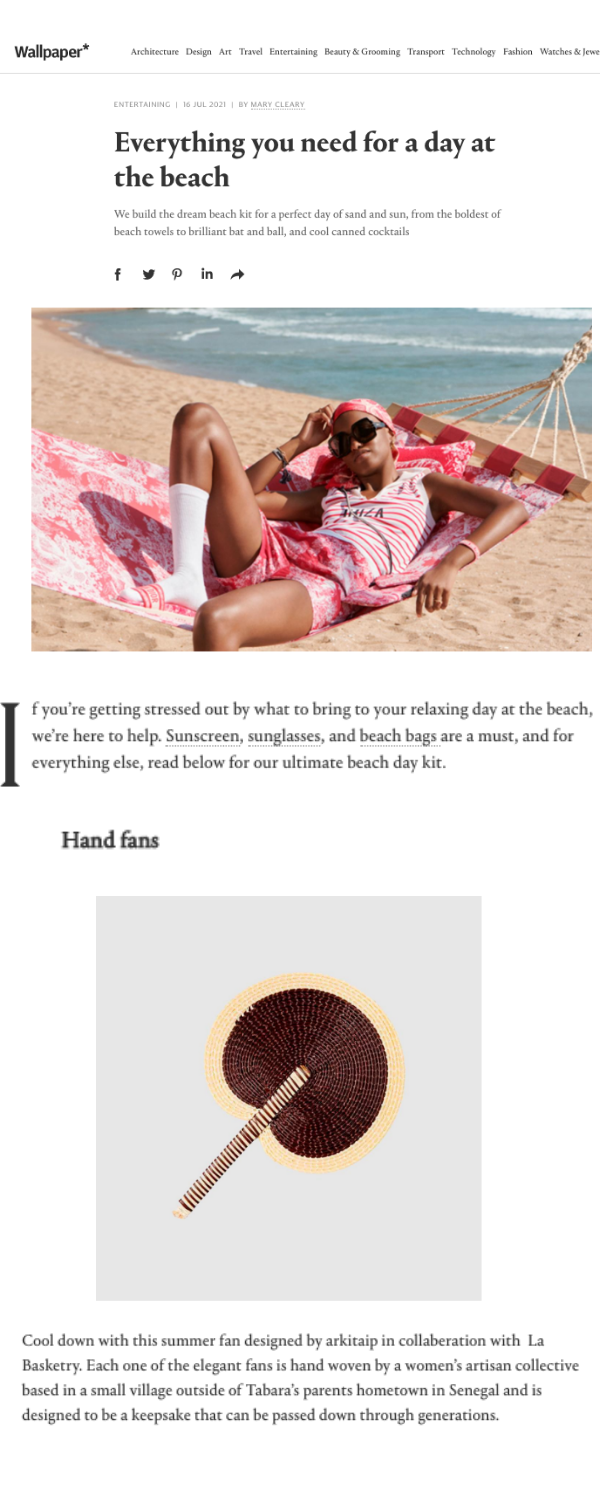 La Basketry's handwoven fan is featured on Wallpaper as an essential for summer 2021