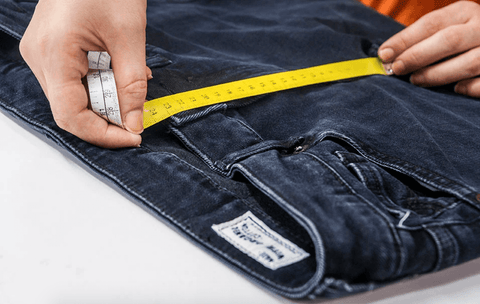denim jeans being measured as part of the denim kind campaign for thought clothing la basketry