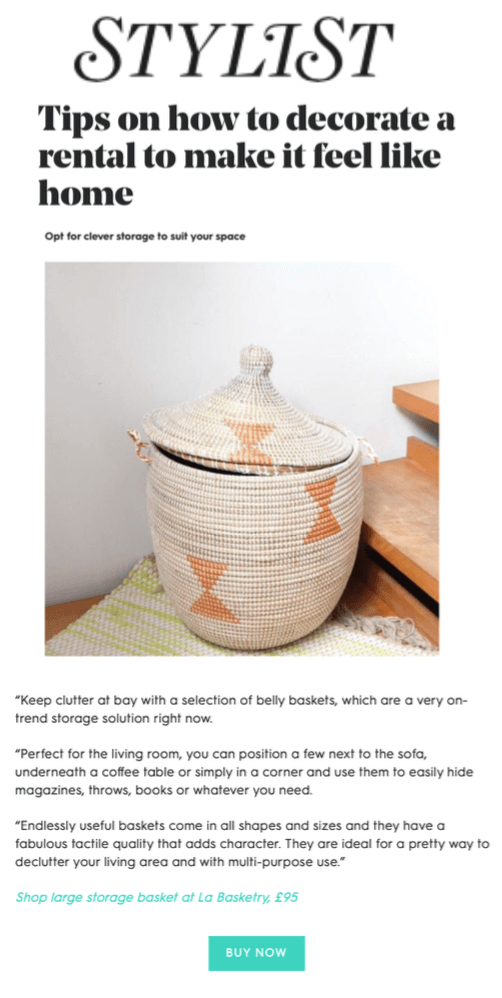 stylist magazine online featuring la basketry and tips on how to style your rented apartment with large storage baskets and home decor