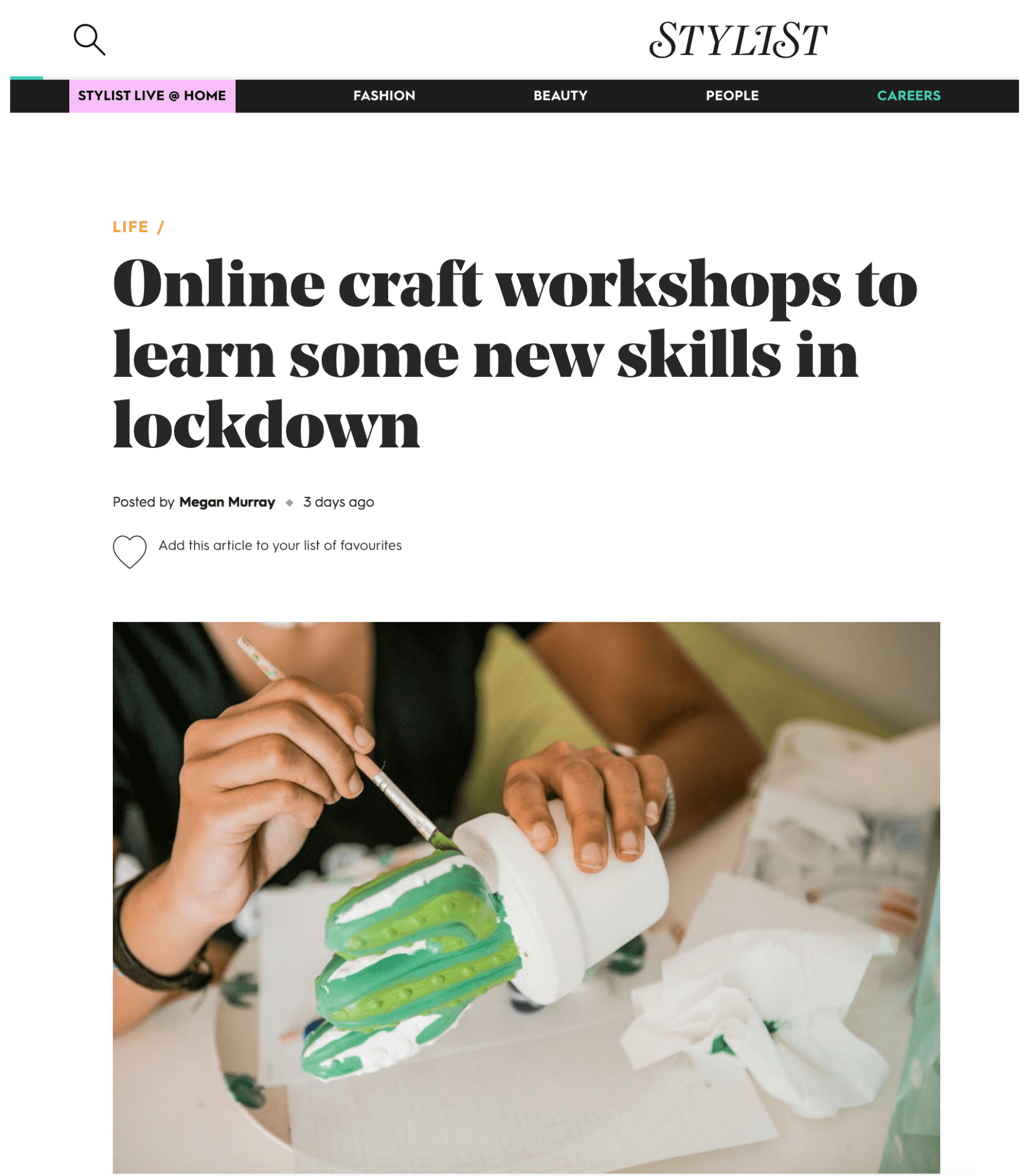 online craft workshops to do at home in lockdown featuring la basketry on stylist.co.uk
