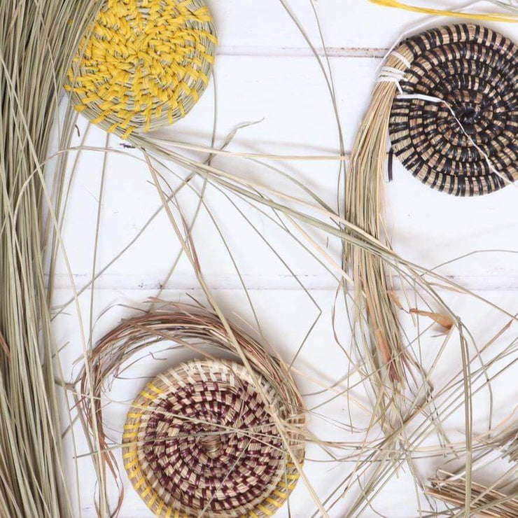 seagrass bundles made into coasters in multiple colours, from la basketry