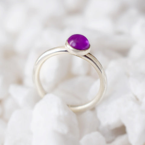 Amethyst Silver Stacking Ring