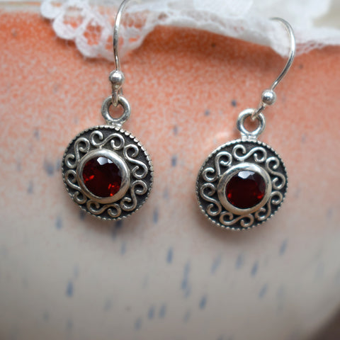 Little Red Garnet Earrings
