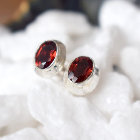 Red Garnet Stud Earrings