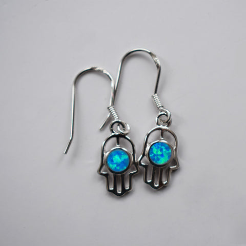 Little Blue Hamsa Earrings