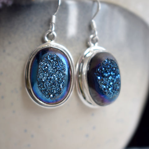 Blue Crystal Druzy Earrings