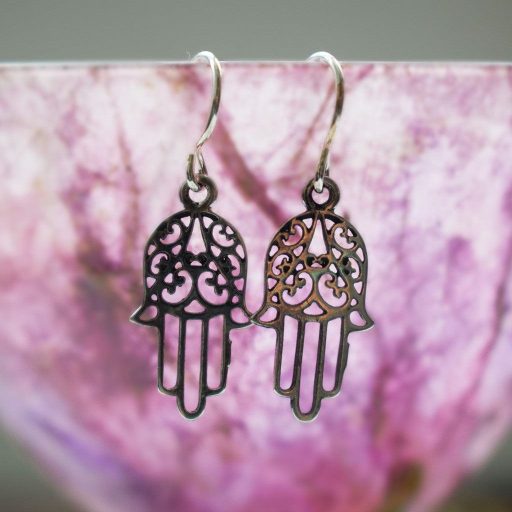 Silver Hamsa Hand Earrings
