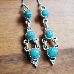 Three Tier Turquoise Earrings