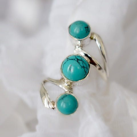 Triple Turquoise Twist Ring