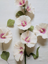 One Long Stem Paper Holly Hock - Pale Pink With Dark Pink Centre