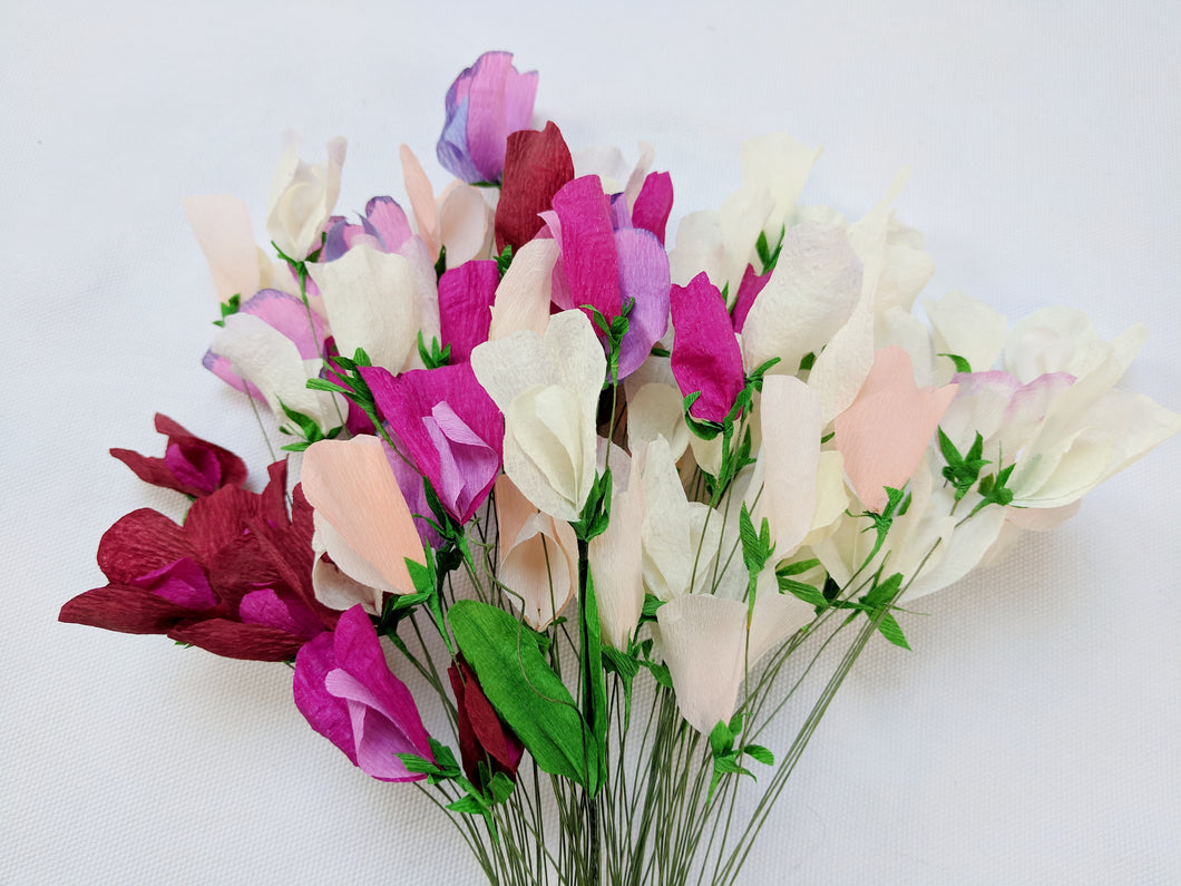 100 Paper Sweet Pea Flowers