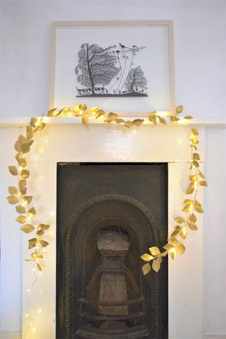 Gold Paper Leaf Fairy Lights Garland
