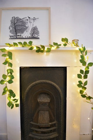 Green Paper Leaf Fairy Lights Garland