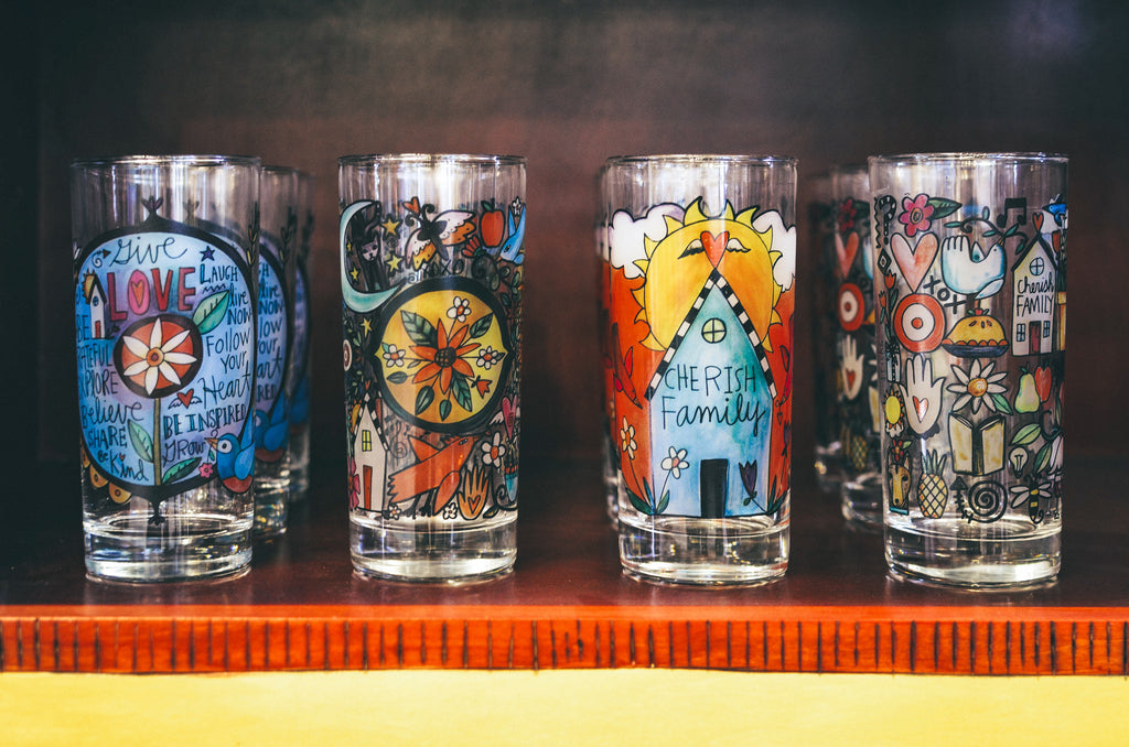 Full collection of Clearly Sincerely, Sticks printed glassware