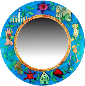 Large Circle Mirror –  Vibrant Judaica mirror with rich hues and symbolic elements