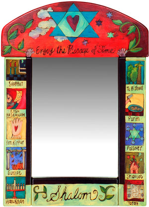 "Medium Mirror –  ""Enjoy the Passage of Time, Shalom"" symbolic Judaica mirror painted in bright hues"