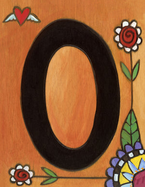 "Sincerely, Sticks ""0"" House Number Plaque option 2 with flowers"