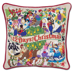 12 Days of Christmas Hand-Embroidered Pillow -  This original design celebrates the beloved carol—the 12 Days of Christmas!