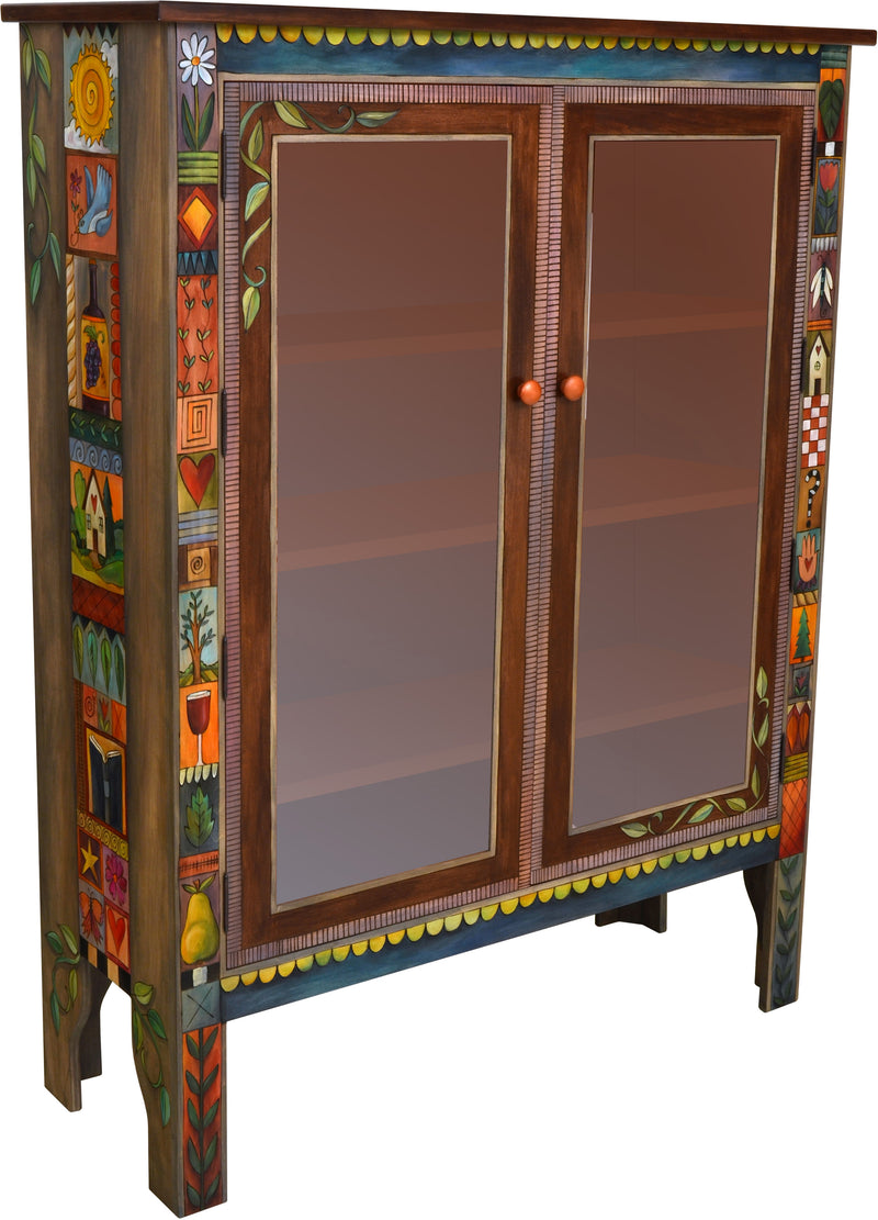 Bookcase with Glass Doors –  Bookcase cabinet with interior shelves and colorful crazy quilt icon patches