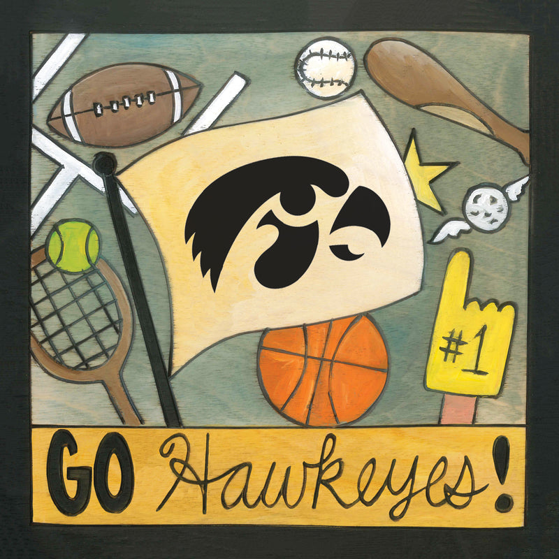 "Sincerely, Sticks 6x6"" plaque with ""Go Hawkeyes"" quote and theme"