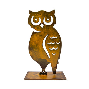 "Horned Owl Sculpture – ""Owl"" you need for charming fall decor is this side profile owl sculpture that pairs great with pumpkin sculptures on a white background"