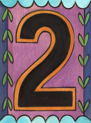 "Sincerely, Sticks ""2"" House Number Plaque option 2 with scallop and vine borders"