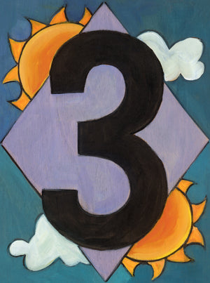 "Sincerely, Sticks ""3"" House Number Plaque option 1 with sun and clouds"
