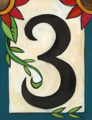 "Sincerely, Sticks ""3"" House Number Plaque option 3 with flowers"