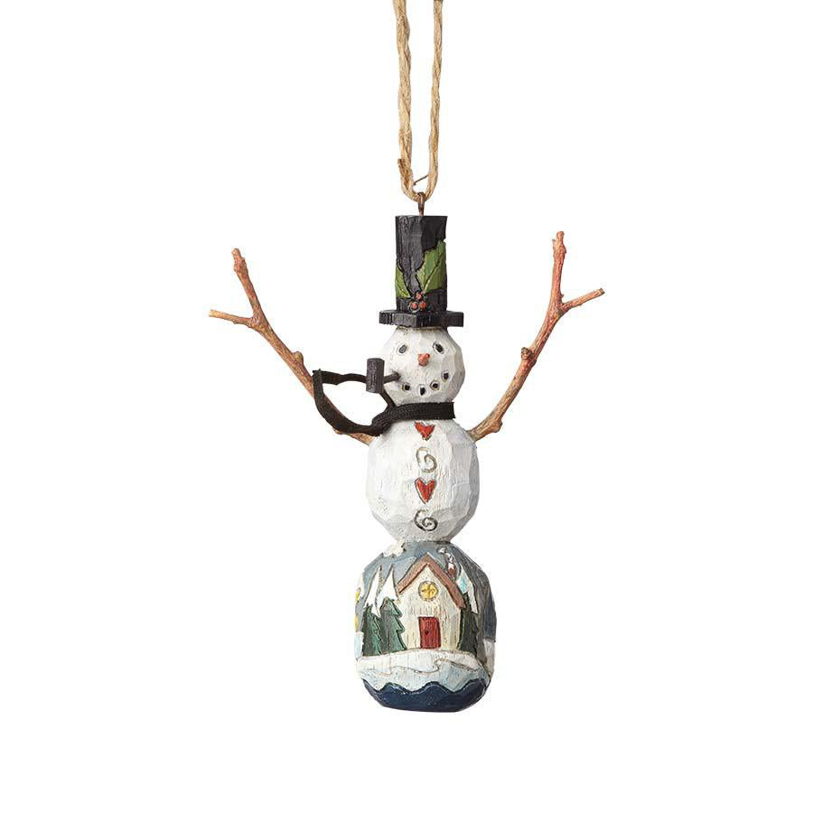 Snowman with Winter Scene Ornament
