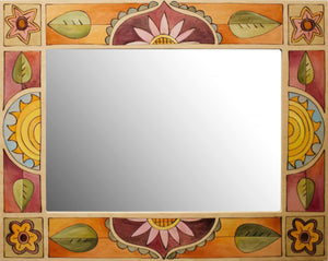 Rectangular Mirror –  Cheerful floral and sun medallions motif