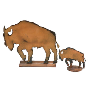 Buffalo Sculpture – Rustic patina bison sculpture adds the perfect touch of western plains to your home's décor set of buffalo sculptures on a white background