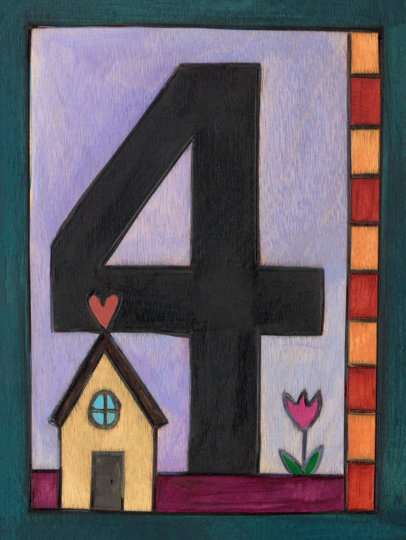 "Sincerely, Sticks ""4"" House Number Plaque option 1 with tiny home"