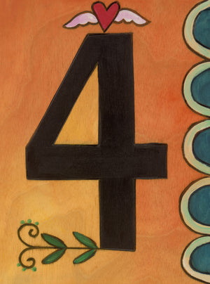 "Sincerely, Sticks ""4"" House Number Plaque option 2 with scallop edge and heart icon"