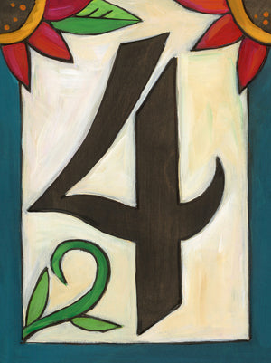 "Sincerely, Sticks ""4"" House Number Plaque option 3 with flowers"