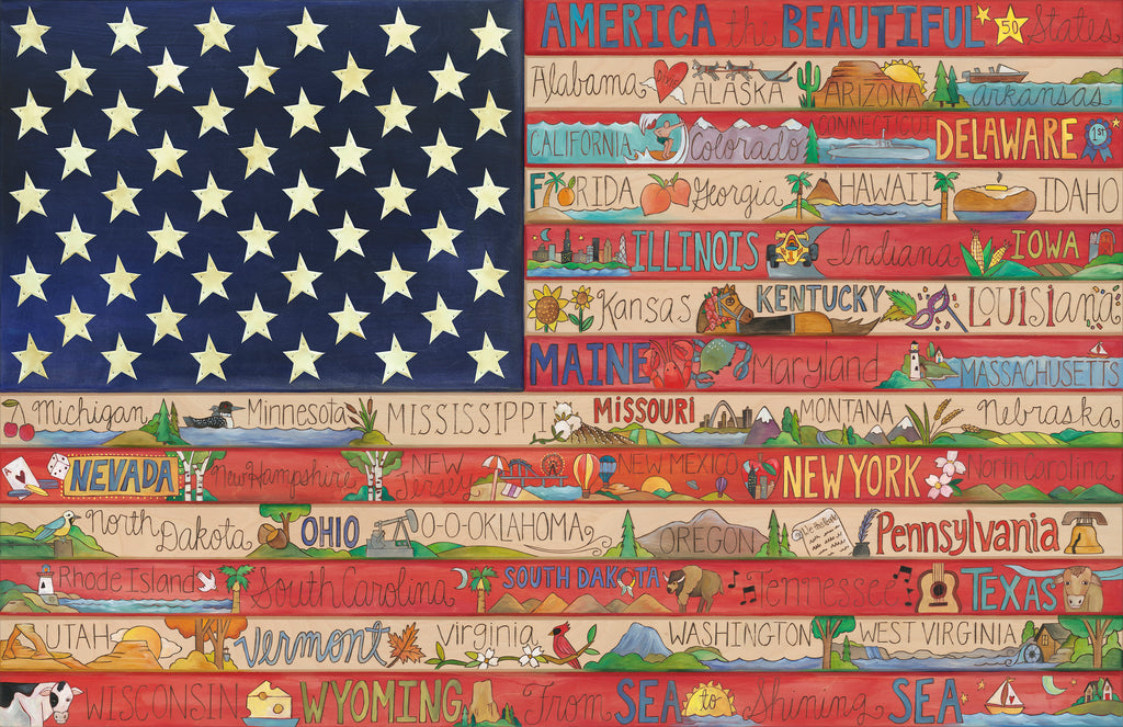 Nifty Fifty American Flag Poster –  Americana poster featuring each of our 50 nifty states