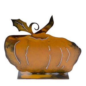Brady Pumpkin Sculpture – Short and plump pumpkin sculpture is the perfect versatile fall decoration that can be used all season long and especially for Halloween and Thanksgiving on a white background