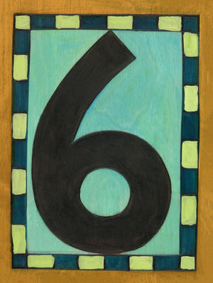"Sincerely, Sticks ""6"" House Number Plaque option 1 with checked border"
