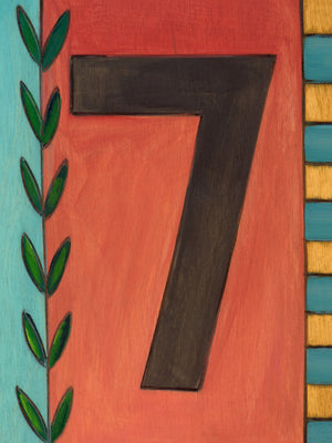 "Sincerely, Sticks ""7"" House Number Plaque option 1 with vine and checks"